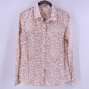 J Crew White/Pale Gold Leopard Perfect Shirt Small